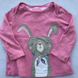 Joules long sleeve pink bunny appliqué cotton top